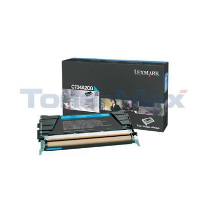 LEXMARK C734DN TONER CART CYAN 6K